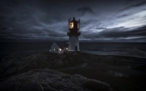 Картинка ночь, маяк, Norway, Vest-Agder, Våge