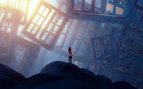 Картинка Девушка, Girl, Windows, Окна, Fantasy, Арт, Art, Фантастика, Jakub Grygier, by Jakub Grygier