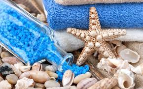 Картинка бутылка, relax, ракушки, морская звезда, спа, spa, соль для ванны