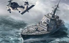 Картинка япония, эскадренный миноносец, Atago, JMSDF DDG Ashigara, DDG-178, ракетный эсминец