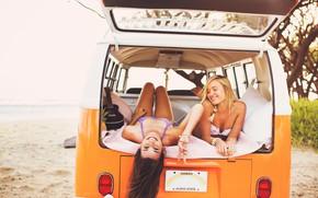 Картинка Car, Beach, Girls, Summer, Sea, Mood, Rest, Joy