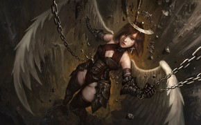 Картинка девушка, ангел, нимб