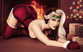 Картинка попа, грудь, взгляд, девушка, поза, красавица, подарки, камин, задница, X-Men, Marie, happy new year, Rogue, …