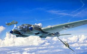 Картинка Истребитель, Бомбардировщик, Hawker Hurricane, He 111, Heinkel 111, Двухмоторный