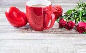Картинка любовь, цветы, розы, букет, сердечки, красные, red, love, flowers, romantic, hearts, coffee cup, valentine's day, …