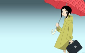 Картинка девушка, зонт, сумка, пальто, Sayonara Zetsubou Sensei, Прощай безрадостный сенсей