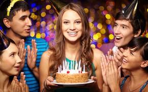 Картинка девушка, улыбка, торт, друзья, День рождения