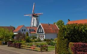 Картинка дом, улица, Нидерланды, ветряная мельница
