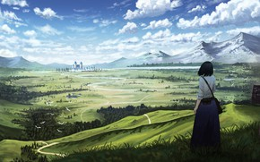 Картинка девушка, пейзаж, природа, панорама