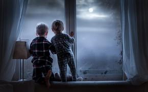 Картинка дети, дом, окно