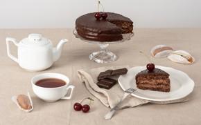 Картинка чай, шоколад, конфеты, торт, десерт, сладкое, Chocolate, Cake, Sweet