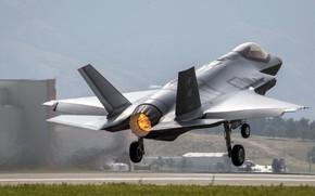 Обои Lightning II, F-35, Lockheed Martin, семейство малозаметных многофункциональных, истребитель-бомбардировщик пятого поколения