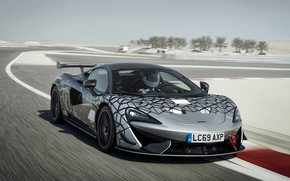 Картинка купе, McLaren, 2020, V8 twin-turbo, 620R, чёрно-серый, 620 л.с., 3.8 л.