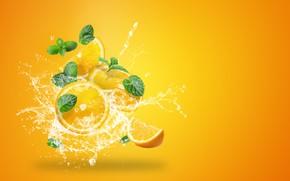Картинка вода, брызги, желтый, фон, всплеск, апельсины, цитрус