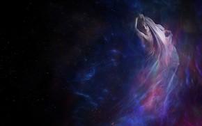 Картинка небо, девушка, свечение