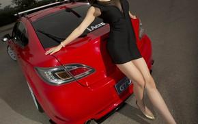 Картинка взгляд, Девушки, Mazda, азиатка, красивая девушка, красный авто, позирует над машиной