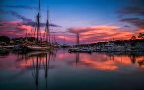 Картинка море, закат, яхты, вечер, катера