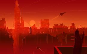 Картинка Солнце, Город, Человек, Силуэт, Небоскребы, City, Fantasy, Пейзаж, Art, Космические Корабли, Пиксели, Sun, Фантастика, Spaceship, …