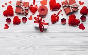Картинка любовь, подарок, сердце, свечи, сердечки, red, love, heart, wood, romantic, valentine's day, gift