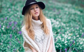 Картинка взгляд, цветы, поза, фон, модель, портрет, шляпа, макияж, прическа, красотка, в белом, на природе, рыженькая, …