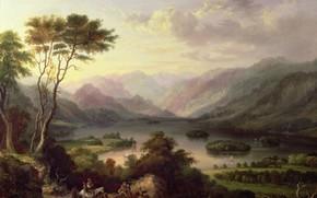 Картинка озеро, люди, дерево, холмы, лошадь, ослы, Артур Хьюз, караванчик, Эскиз для вышивания