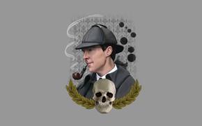 Картинка череп, минимализм, шляпа, детектив, Шерлок Холмс, Бенедикт Камбербэтч, Benedict Cumberbatch, Sherlock, Шерлок, Sherlock BBC, Sherlock …