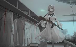 Картинка девушка, оружие, арт, автомат, гардероб