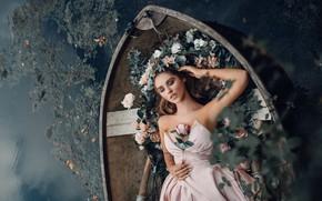Картинка девушка, цветы, поза, настроение, лодка, лежит, принцесса, водоем
