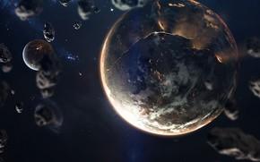 Картинка Звезды, Планета, Космос, Звезда, Планеты, Planets, Star, Арт, Stars, Space, Art, Спутник, Planet, Universe, Galaxy, …