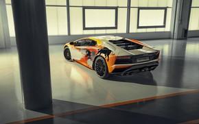Картинка Lamborghini, фонари, спорткар, выхлоп, быки, Aventador S, Skyler Grey