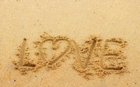 Картинка песок, пляж, лето, любовь, сердце, summer, love, beach, sea, heart, romantic, sand