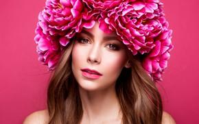 Картинка девушка, цветы, стиль, модель, портрет, макияж, венок, Korabkova