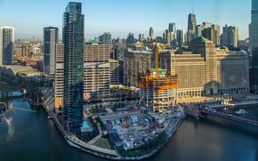 Картинка город, здания, Чикаго, небоскрёбы