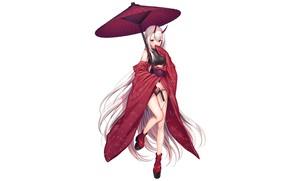 Картинка девушка, зонт, демон, арт, komeshiro kasu