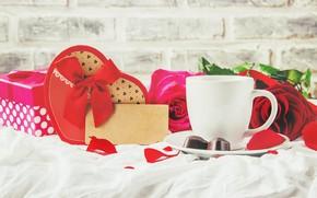 Картинка праздник, подарок, роза, кофе, сердечко, день влюбленных