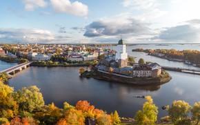 Картинка осень, мост, город, замок, остров, дома, Финский залив, Выборг