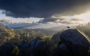 Картинка Горы, Лошадь, Тучи, Ковбой, Дикий Запад, Game, Cowboy, Wild West, Red Dead Redemption 2, Arthur …