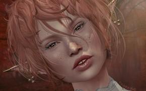 Картинка девушка, лицо, эльф, веснушки, уши