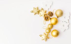 Картинка шарики, праздник, игрушки, белый фон, Новый год, golden, Christmas, decoration, Valeria Aksakova