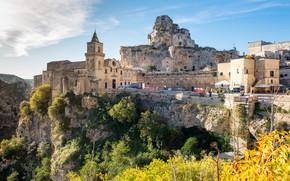 Картинка пейзаж, природа, город, скалы, Италия, Базиликата, Матера