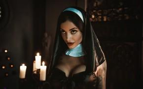 Картинка грудь, девушка, модель, свечи, образ, монахиня, Louis de Navarre, Анна Сахарова