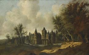 Картинка пейзаж, масло, картина, холст, Замок Эгмонд, 1653, G.W. Berckhout