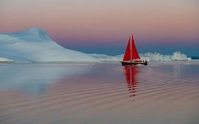 Картинка вода, лодка, корабль, яхта, льды