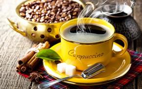 Картинка кофе, чашка, корица, кофейные зерна