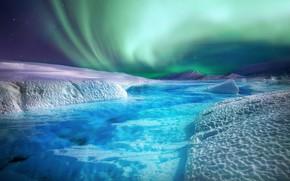 Картинка зима, снег, горы, холмы, берег, лёд, северное сияние, ледник, льдины, водоем, берега