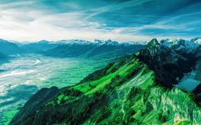 Картинка Дорога, Горы, Долина