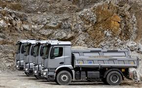 Картинка грузовики, Mercedes-Benz, ряд, серые, 2013, карьер, Arocs