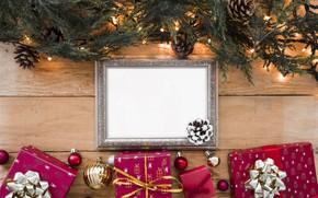 Картинка украшения, рамка, Новый Год, Рождество, подарки, гирлянда, Christmas, wood, New Year, gift, decoration, frame, Merry