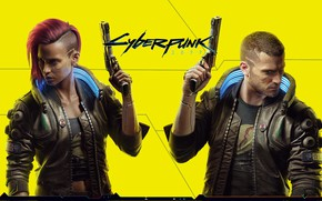Картинка девушка, пистолеты, парень, киборги, Cyberpunk 2077, жёлтый фон
