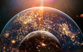 Картинка Ночь, Планета, Космос, Планеты, Planets, Города, Space, Блик, Спутник, Planet, Night, Освещение, Concept Art, Satellite, …